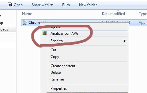 Analizar utilizando Avg para instalacion Google