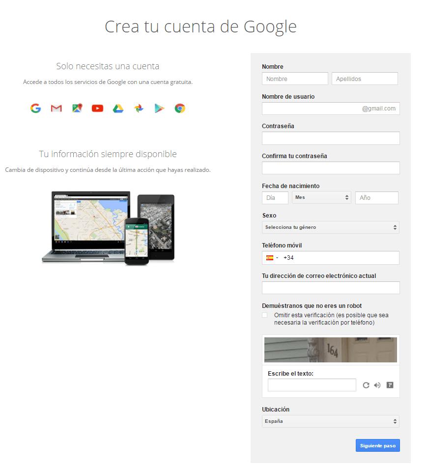Crear tu cuenta de google