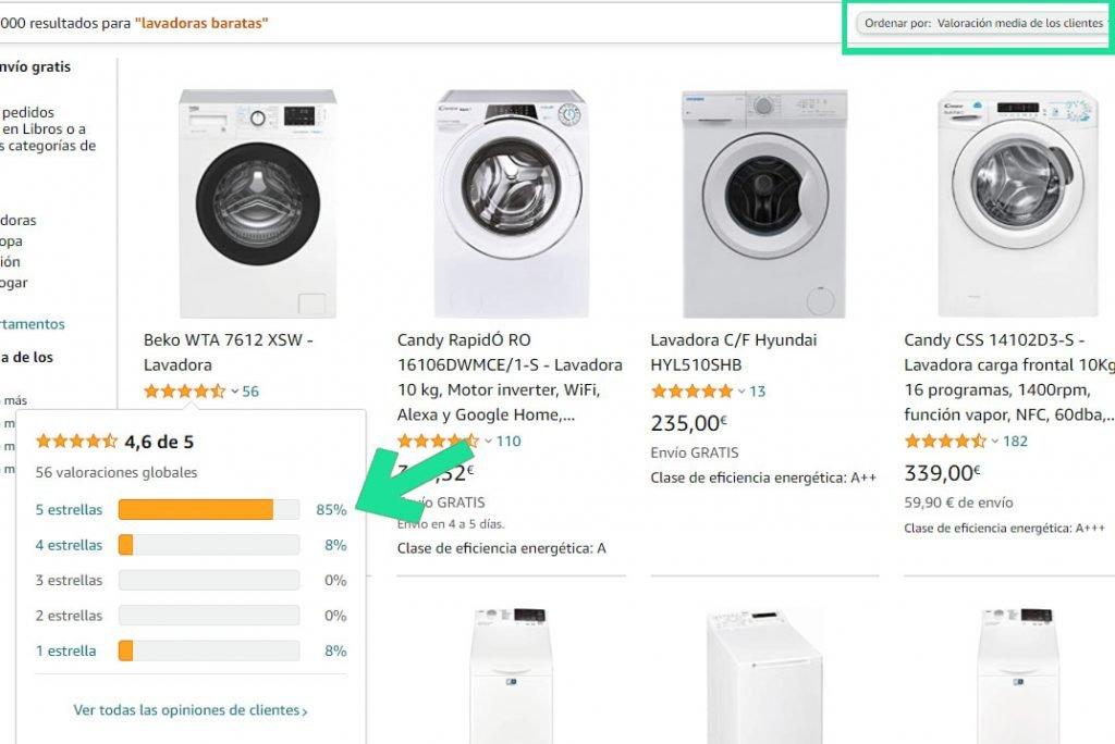 Elegir un producto en Amazon