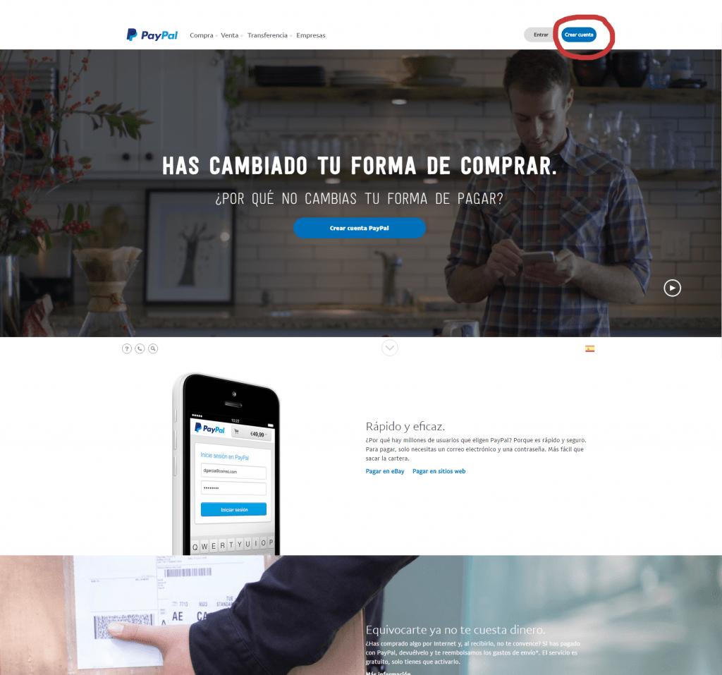 Paypal web page 1