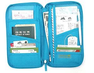 LEORX Viaje práctico pasaporte tarjeta titular billetera con cremallera