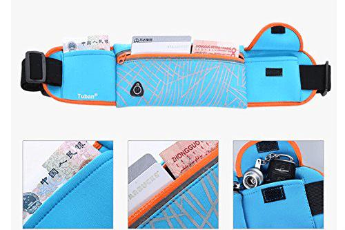 YouVogue resistente al agua duradero banda en funcionamiento con tres bolsas separadas para los teléfonos (hasta 6 ), claves, combustible, dinero, tarjetas de crédito, etc
