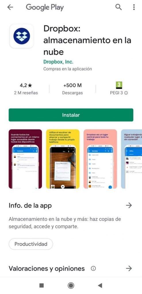 Instalar Dropbox desde Google Play