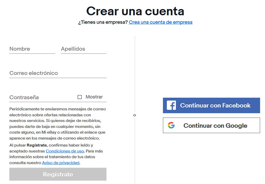 ebay cómo crear una cuenta