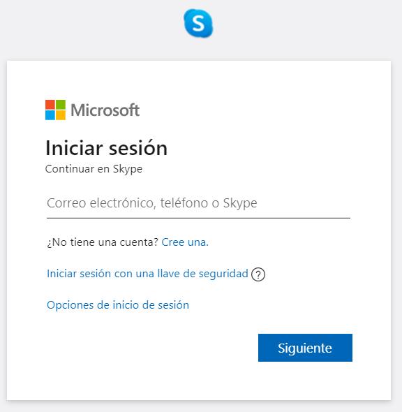 Skype iniciar sesion