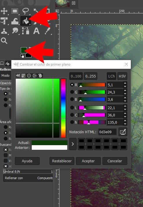 Elegir rellenar color en GIMP