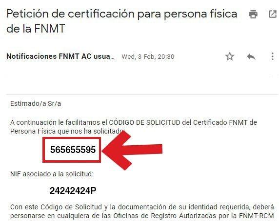 Ejemplo de email de certificado digital