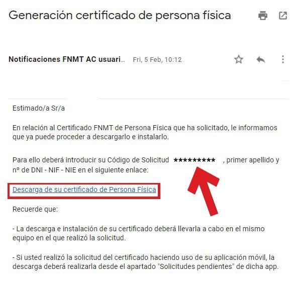 Notificación FNMT