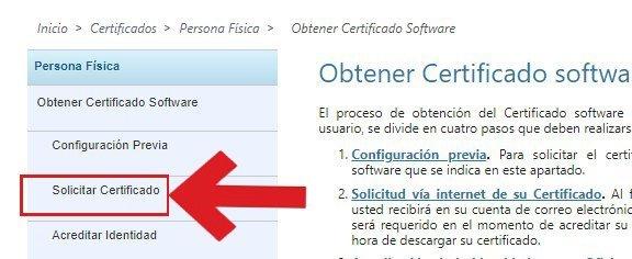 Solicitar certificado digital