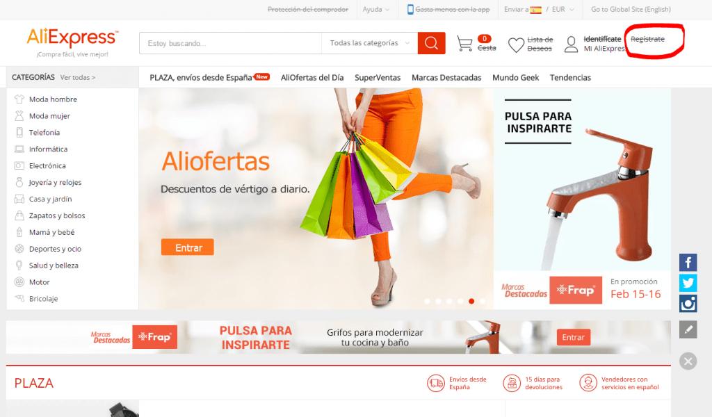 Cómo crear una cuenta de Aliexpress