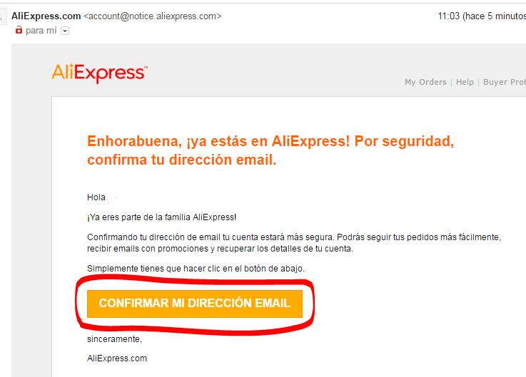Confirmar tu cuenta de Aliexpress