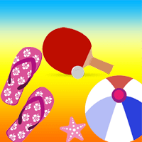 paletas y pelota de playa