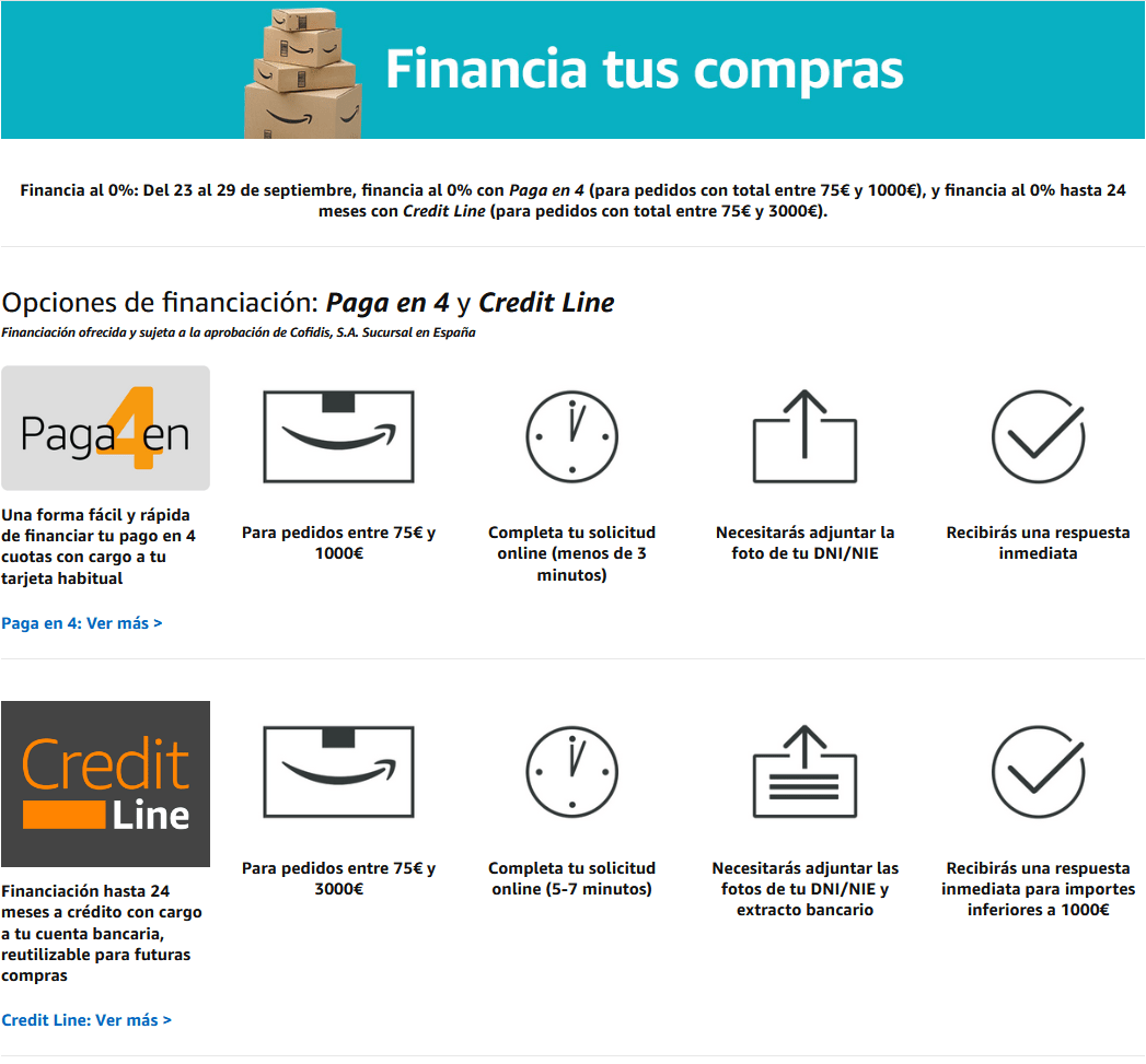 Financiación en Amazon