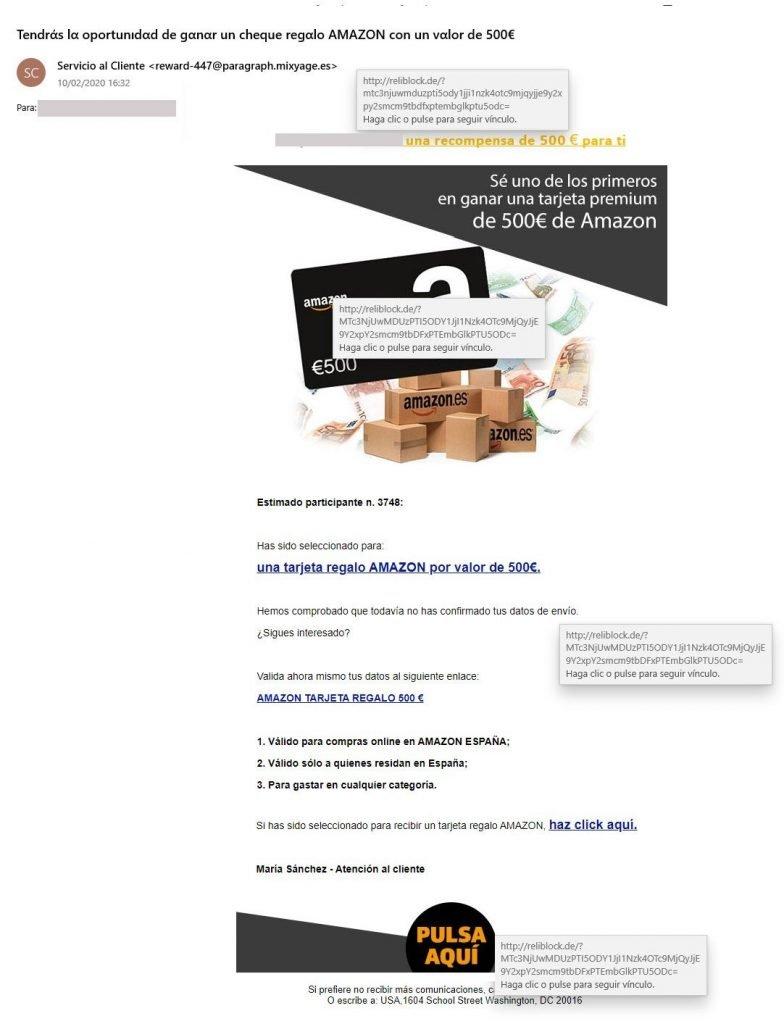 Amazon Timo de Phishing