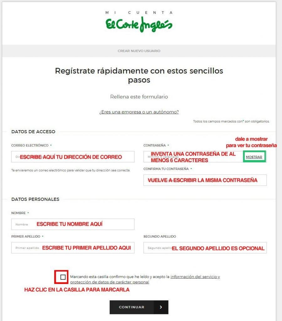 como comprar en el corte ingles_rellenar el formulario