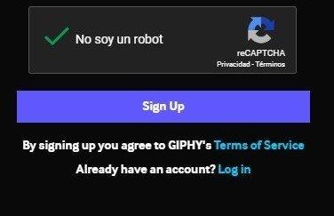 Giphy crear cuenta
