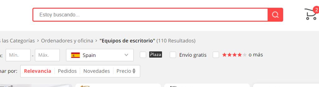 Aliexpress plaza buscar producto