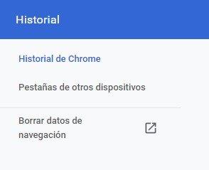 Historial Google chrome