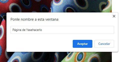 asignar nombre a ventana Herramientas Google chrome